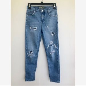 Topshop skinny straight distressed jeans